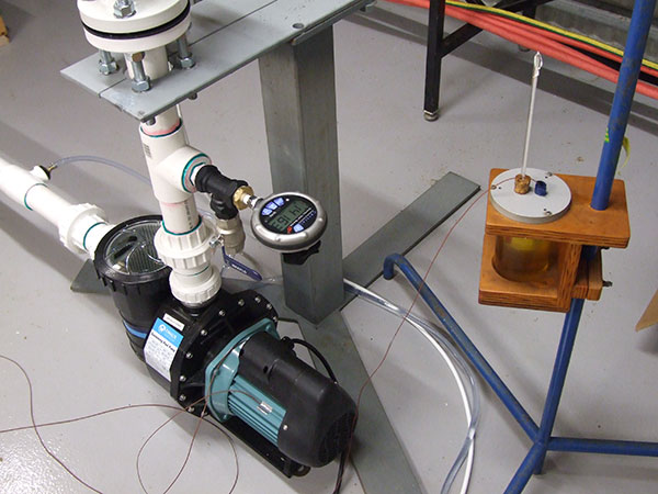 Swimming pool pump test rig