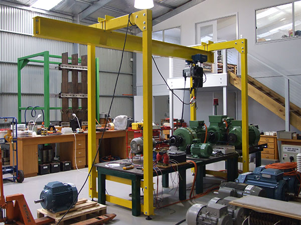 Gantry for handling motors under test